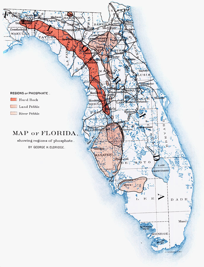 Map of Florida Showing Regions of Phosphate, 1892