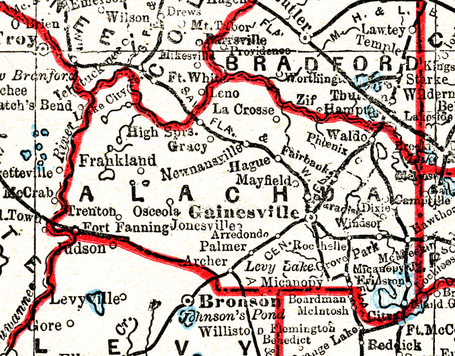 alachua county This detail of a map of florida shows railroads and major cities and towns current to 1932 for alachua county major waterways are shown, as well as lakes, town, islands, and marsh other.