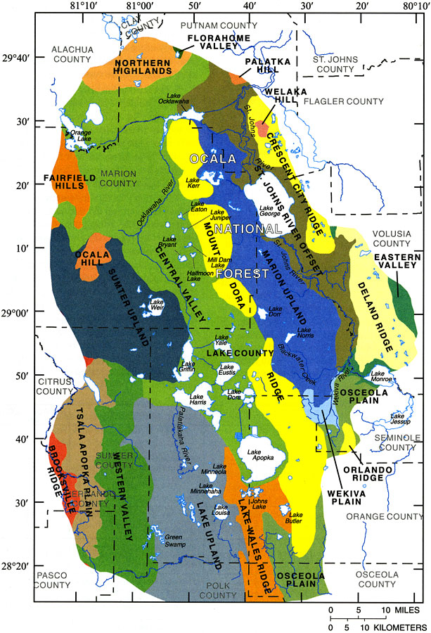 Physiography Of The Ocala National Forest And Lake County Region