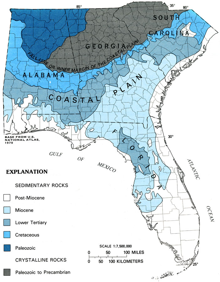 Generalized Geologic Map Of The Southeastern United States - Map of southeast us
