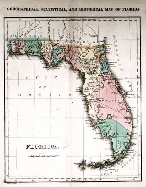 Where Is Sanibel Island In Florida Map.Geographical Statistical And Historical Map Of Florida 1827