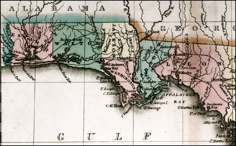 Show Map Of Florida Panhandle.Geographical Statistical And Historical Map Of Florida 1827