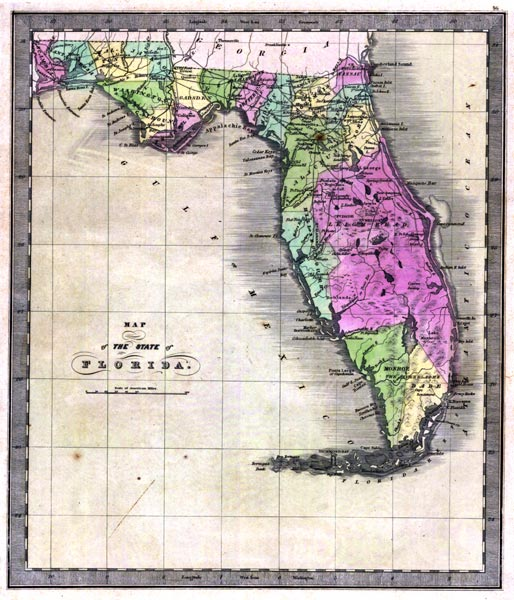 Florida Map Of State.Map Of The State Of Florida 1842