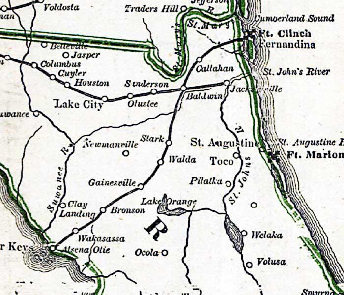 US CONFEDERATE STATES 1862 FL MAP Neptune Beach New Port Richey Smyrna Niceville