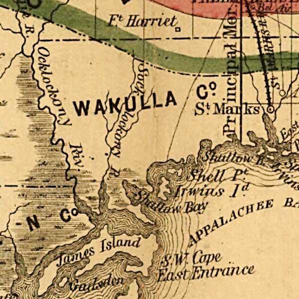 Map Of Wakulla County Florida.Wakulla County 1859