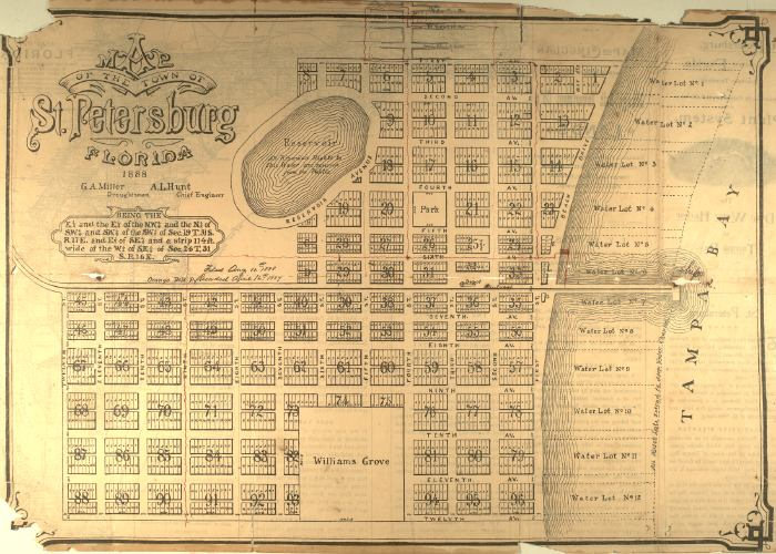 Florida Town Map.Map Of The Town Of Saint Petersburg 1888