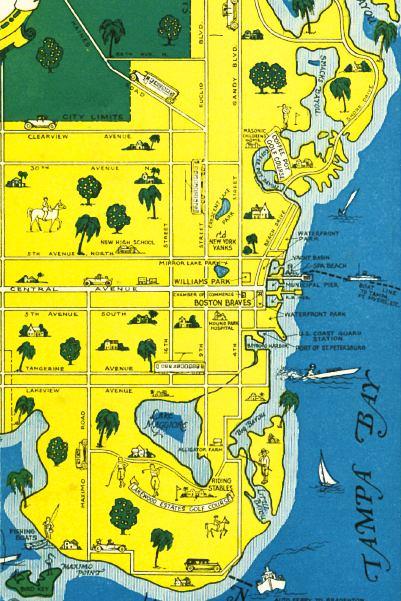 Map Of St Petersburg Florida.Detail Map Of Saint Petersburg Florida Mid 1900s