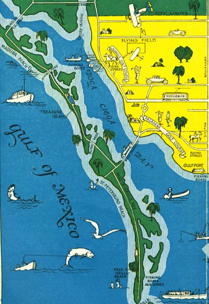 St Petersburg Florida Map.Detail Map Of Saint Petersburg Florida Mid 1900s