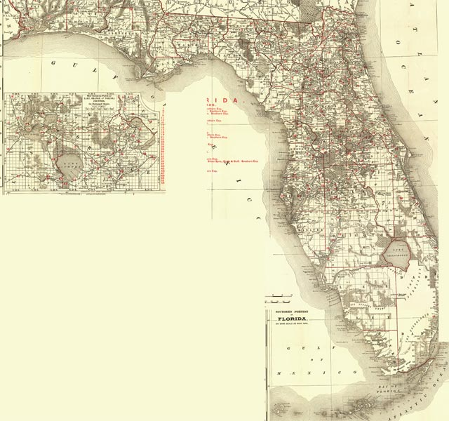 Of Duval County Antique Map  Fold Out