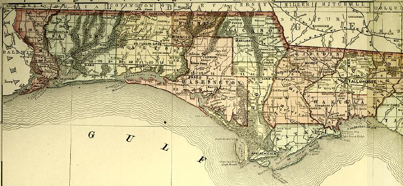 Map Of Florida By County.Detail Florida 1898