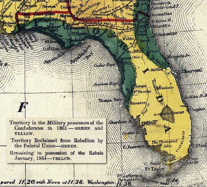 Florida On A Map.Map Of Florida 1864
