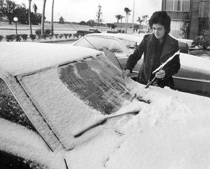 Snow on car in Tampa.