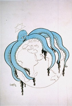 Nazi propaganda showing Jewish octopus taking over the world, not unlike image up top of Islamic crescent taking over Europe