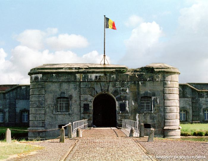 Entrance to Fort Breendonk. The fort was begun in 1906 as part of a ...