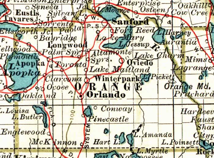 Eustis Florida Map.Map Of Orange County Florida 1897