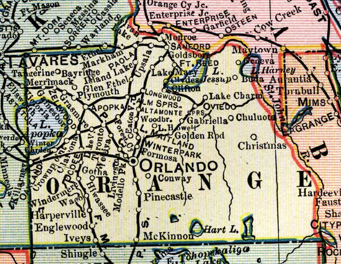 Map Of Orange County Florida.Map Of Orange County Florida 1902
