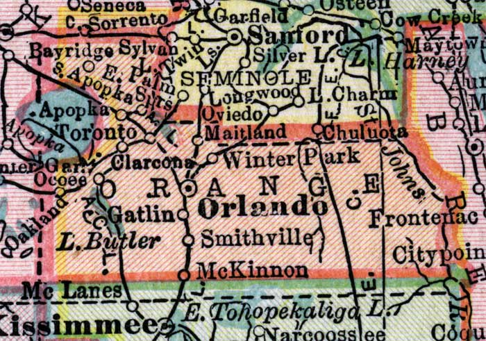 Map Of Orange County Florida.Map Of Orange County Florida 1916