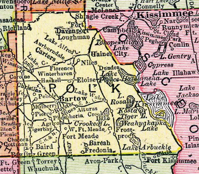 Polk County Map Map of Polk County, Florida, 1917