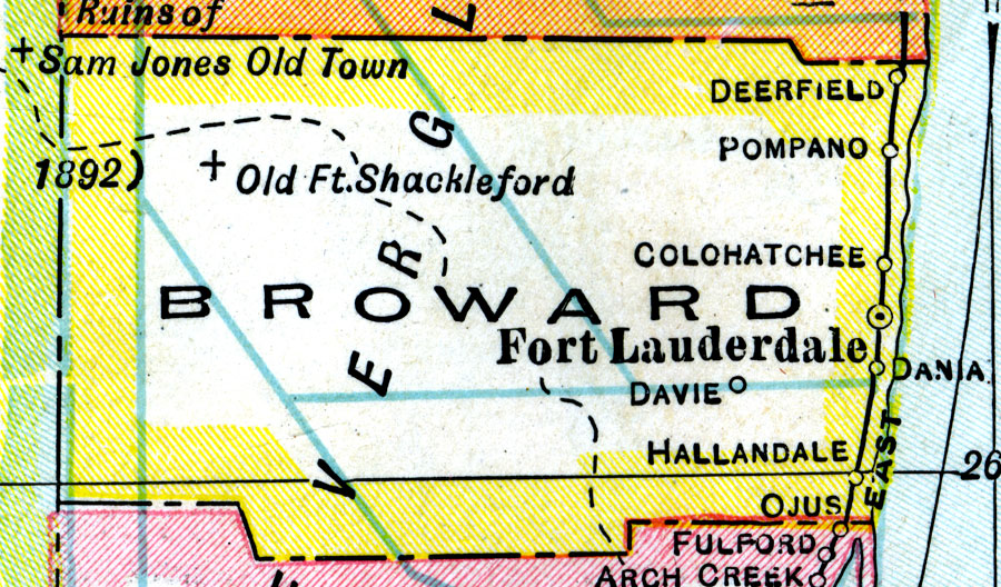 Map Of Broward County Florida.Broward County 1921