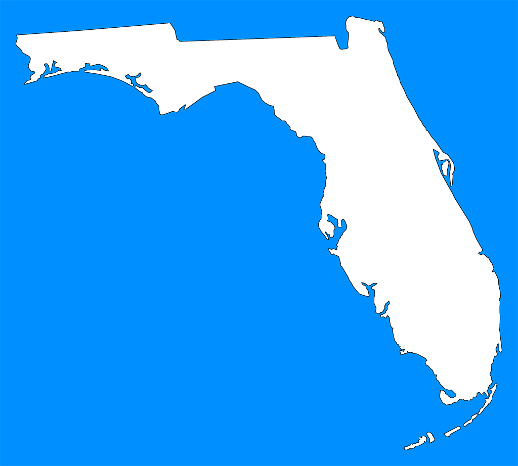 Florida QuotPlain Framequot Style Maps In 30 Colors