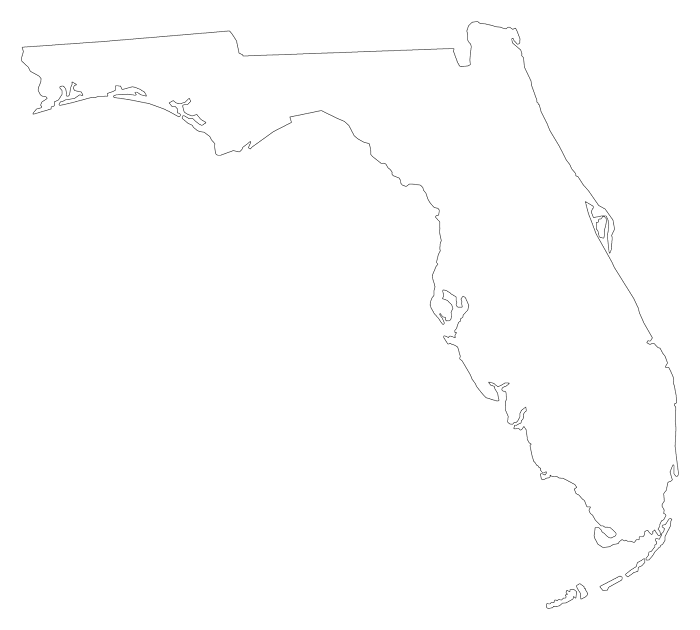 Florida Plain Frame Style Maps In 30 Colors