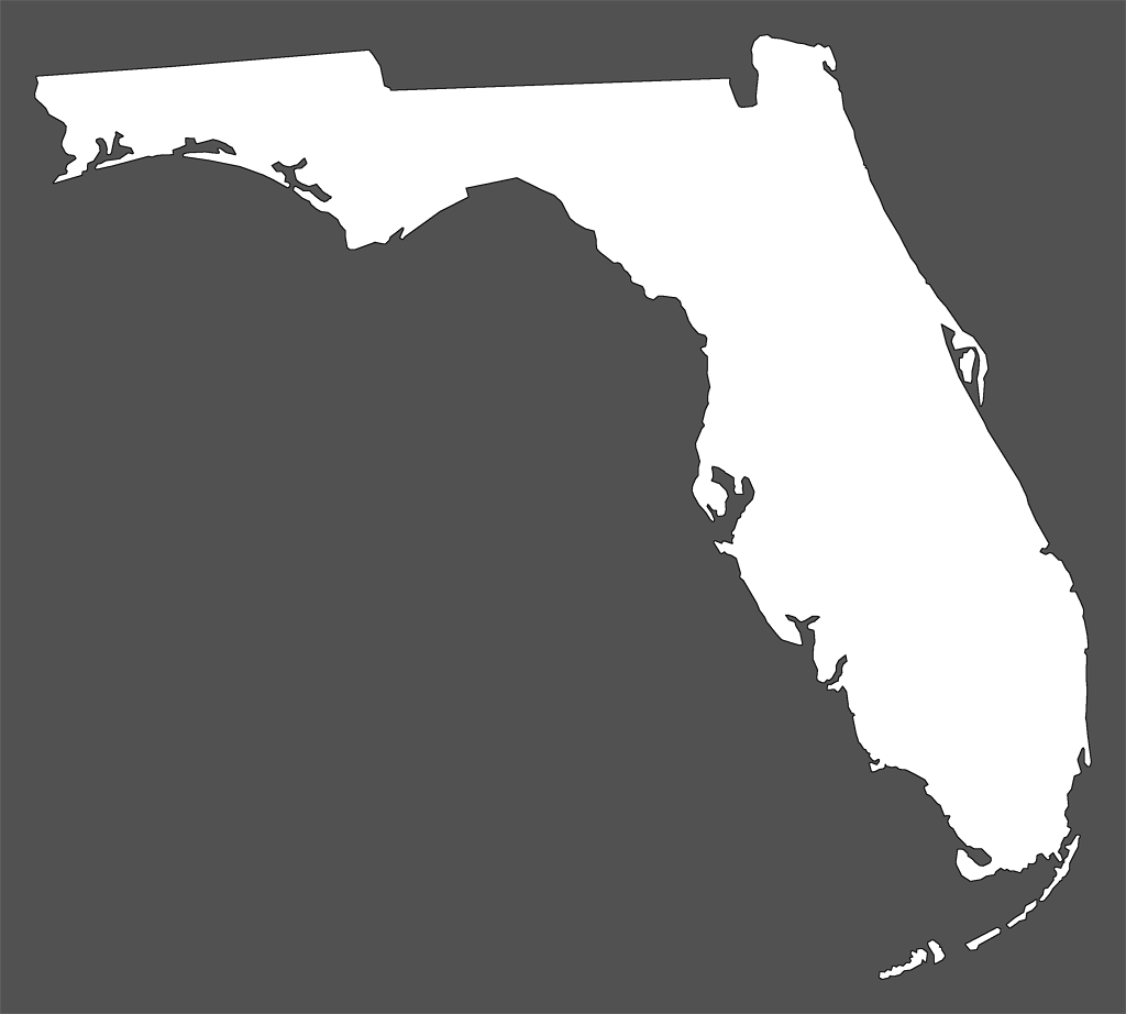Florida Plain Frame Style Maps In  Colors - Florida map black and white