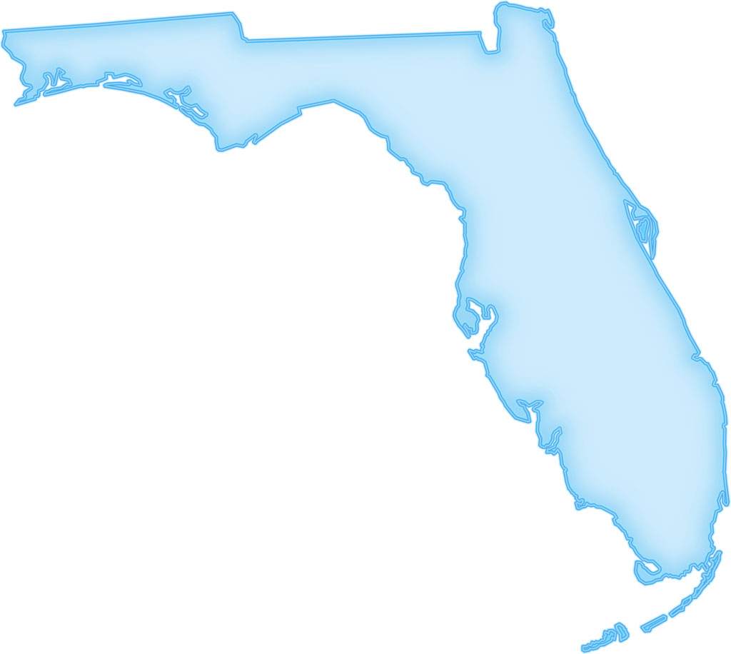 Florida Map Blank.Florida Abstract Style Maps 04 Blue Glow