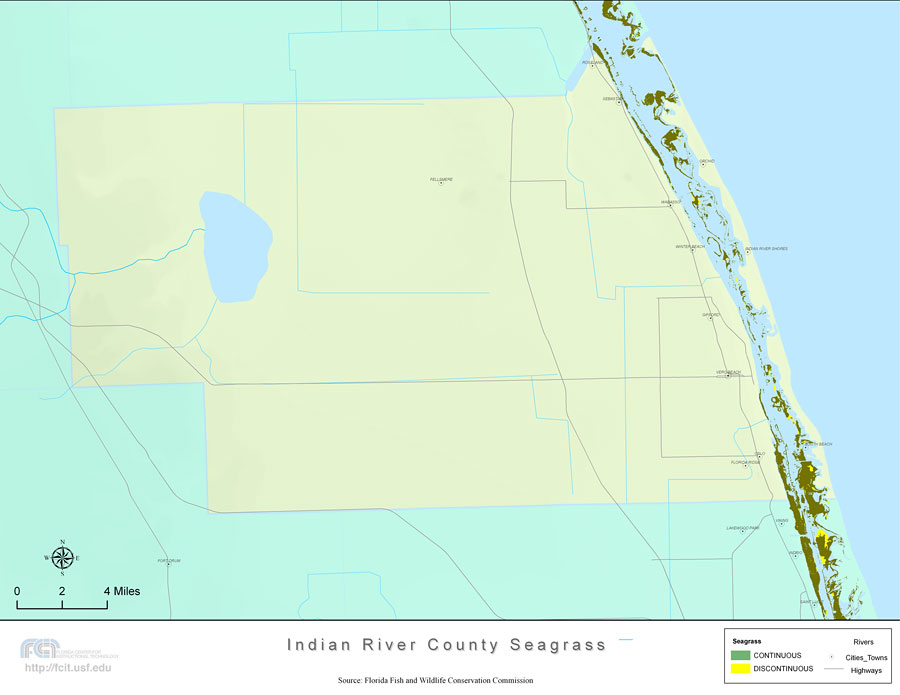 Indian River Florida Map.Florida Seagrass Indian River 2008