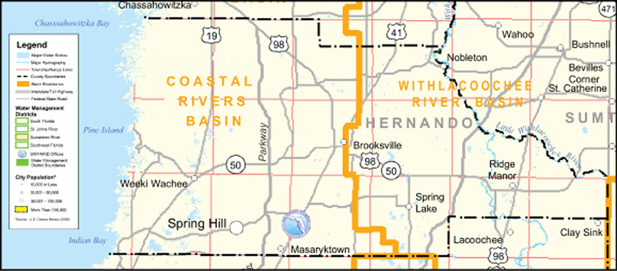 Brooksville Florida Map.Southwest Florida Water Management District Hernando County