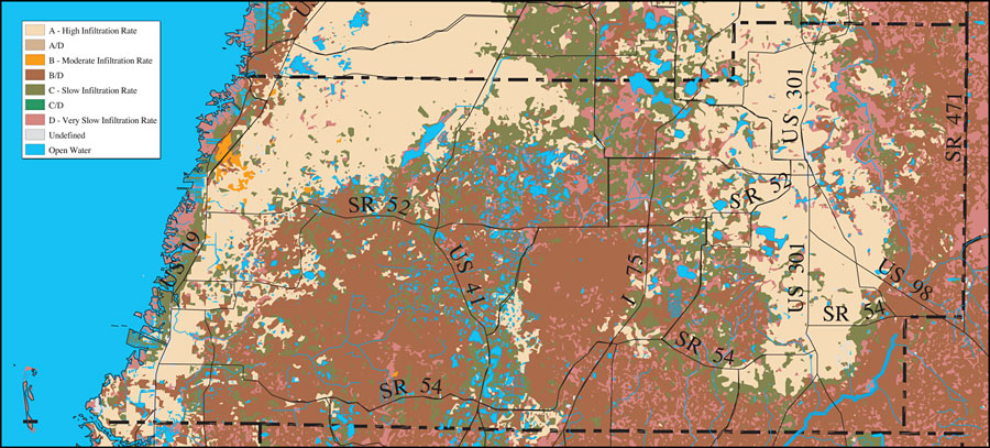 Pasco County Florida Map.Withlacoochee River Watershed Distribution Of Soil Hydrologic Groups