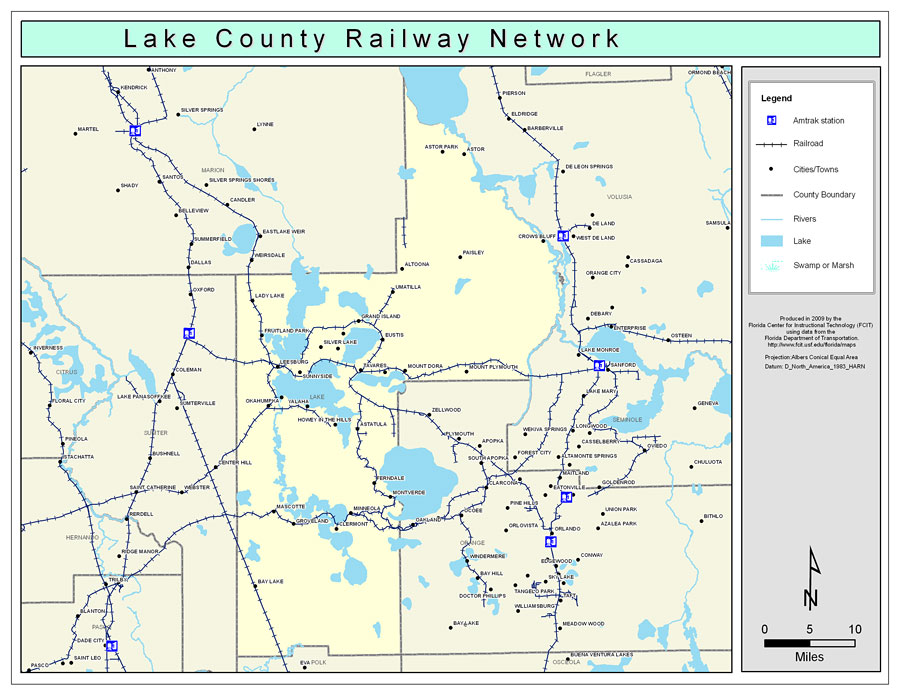 Lake County Florida Map.Lake County Railway Network Color 2009