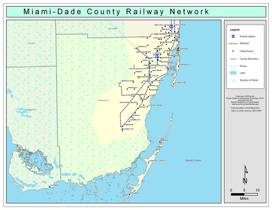 Florida Map Miami.Miami Dade County Railway Network Color 2009