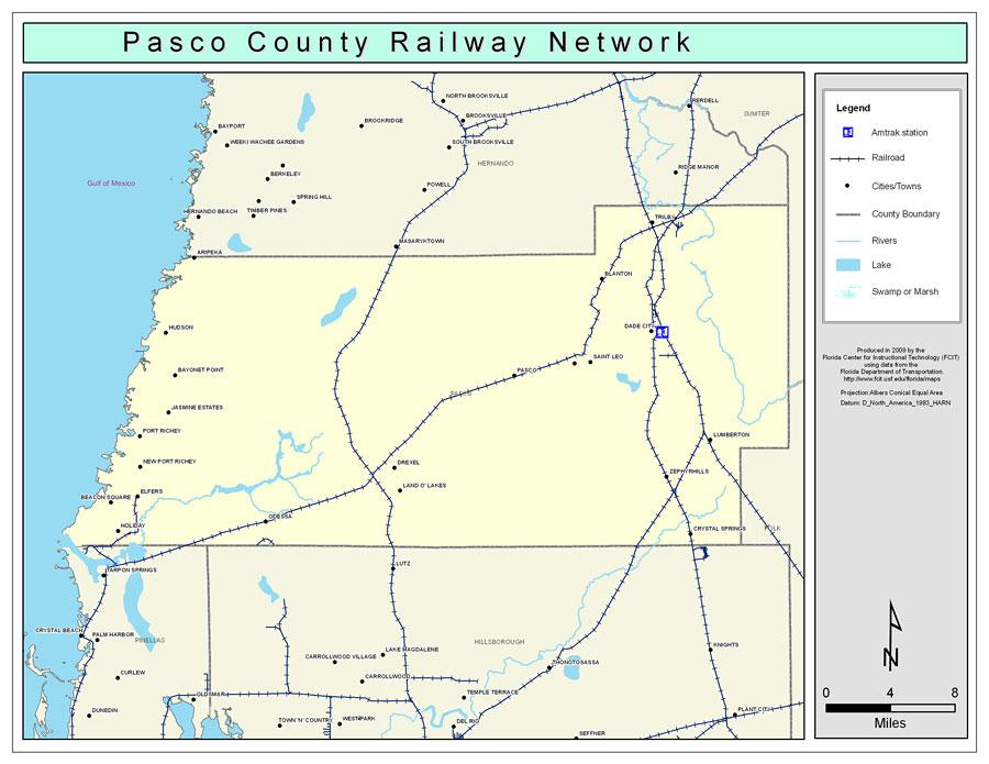 Pasco County Florida Map.Pasco County Railway Network Color 2009