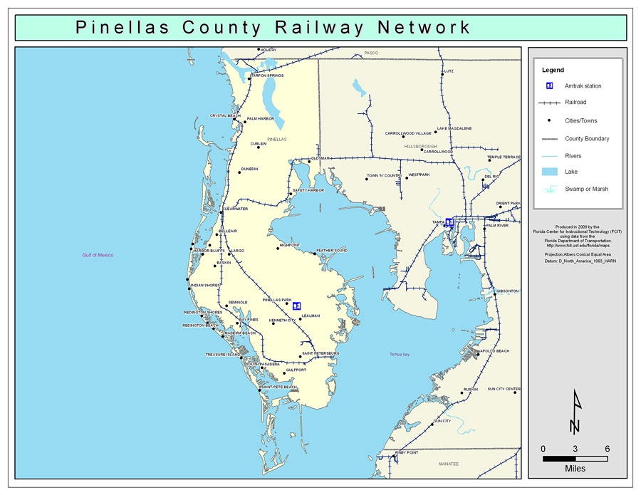 Map Of Pinellas County Florida.Pinellas County Railway Network Color 2009