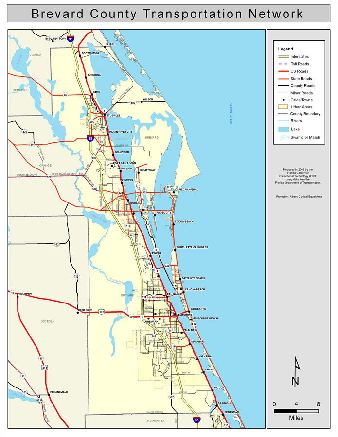 Map Of Florida With All Cities And Towns.Brevard County Road Network Color 2009