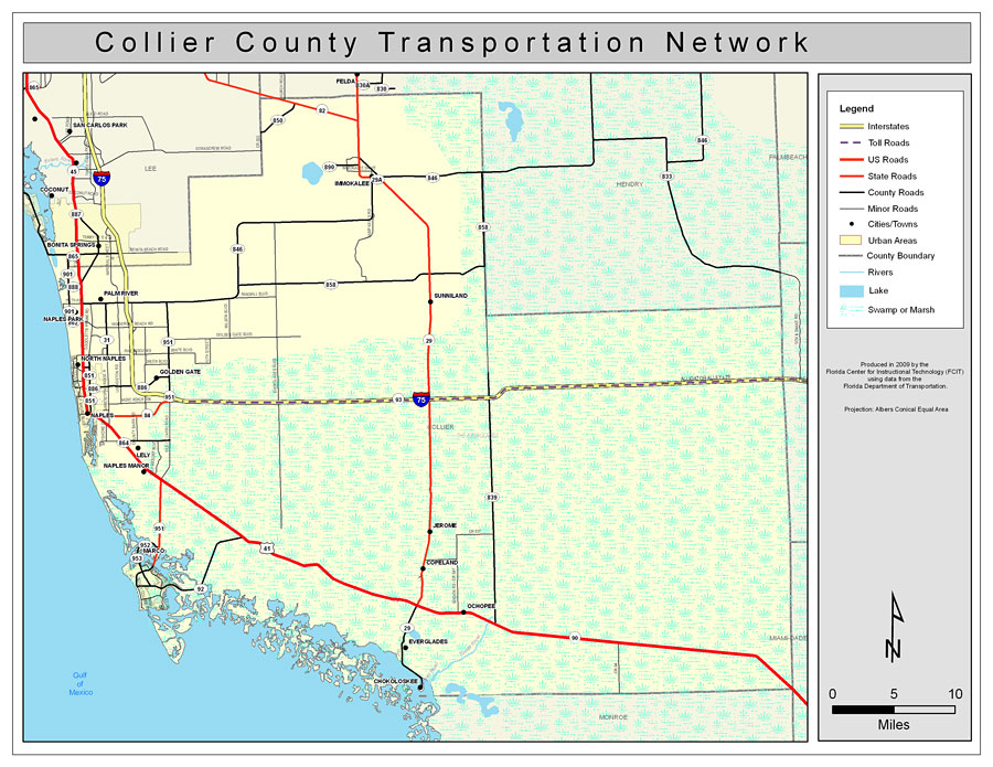 Map Of Collier County Florida Collier County Road Network  Color, 2009