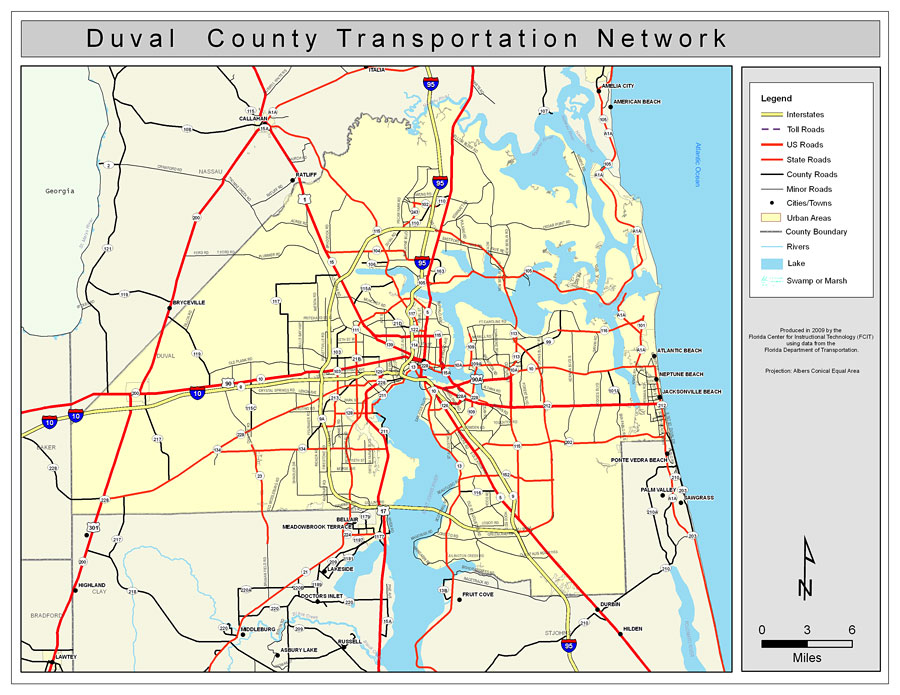 County Map Of Florida With Roads.Duval County Road Network Color 2009
