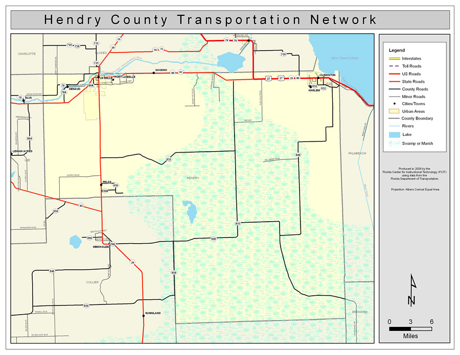 Map Of Hendry County Florida Hendry County Road Network  Color, 2009