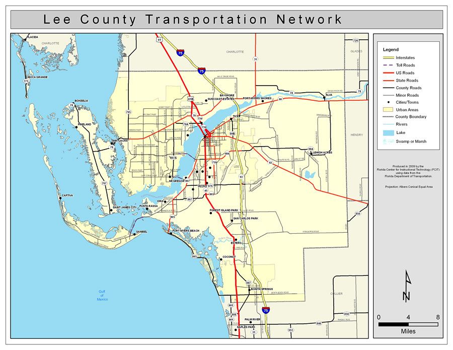 Lee County Map Florida.Lee County Road Network Color 2009