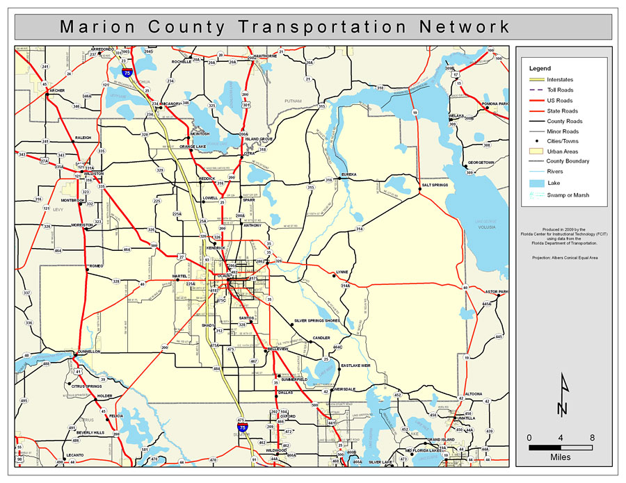 Toll Roads In Florida Map.Marion County Road Network Color 2009