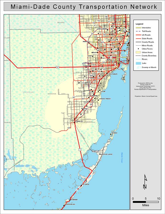 Map Of Miami Dade County Miami Dade County Road Network  Color, 2009 Map Of Miami Dade County