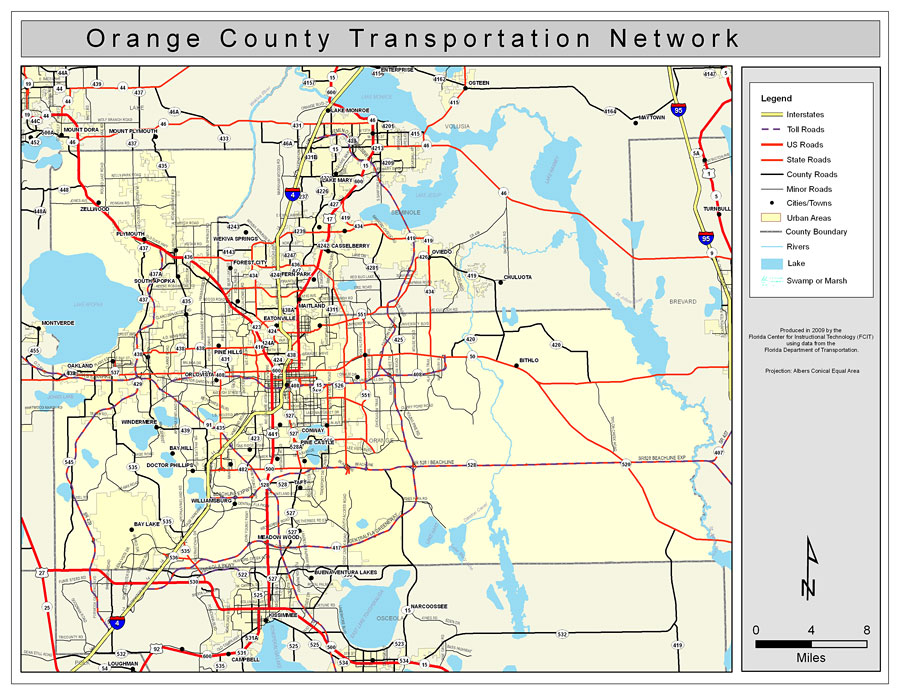 Orange County Florida Map.Orange County Road Network Color 2009