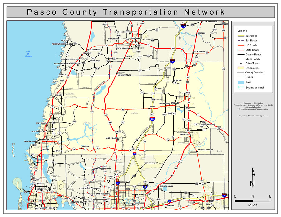 Map Of Pasco County Pasco County Road Network  Color, 2009