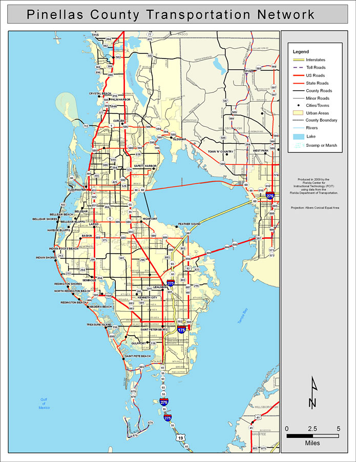 Pinellas County Road Network  Color, 2009
