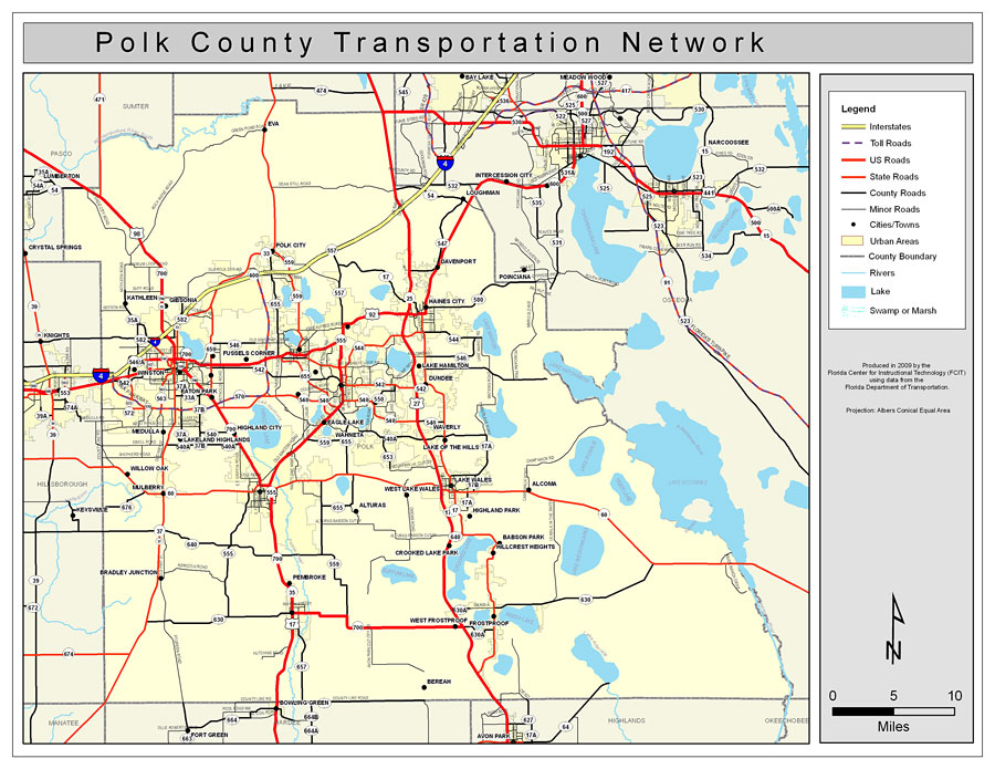 Polk County Road Network- Color, 2009