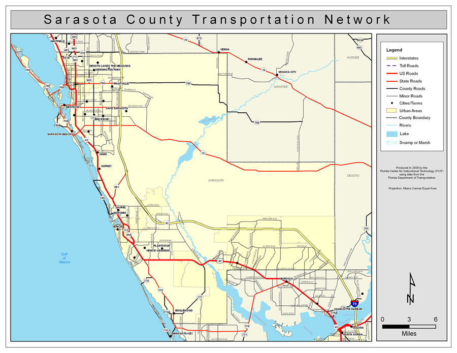 Map Of Florida Sarasota.Sarasota County Road Network Color 2009