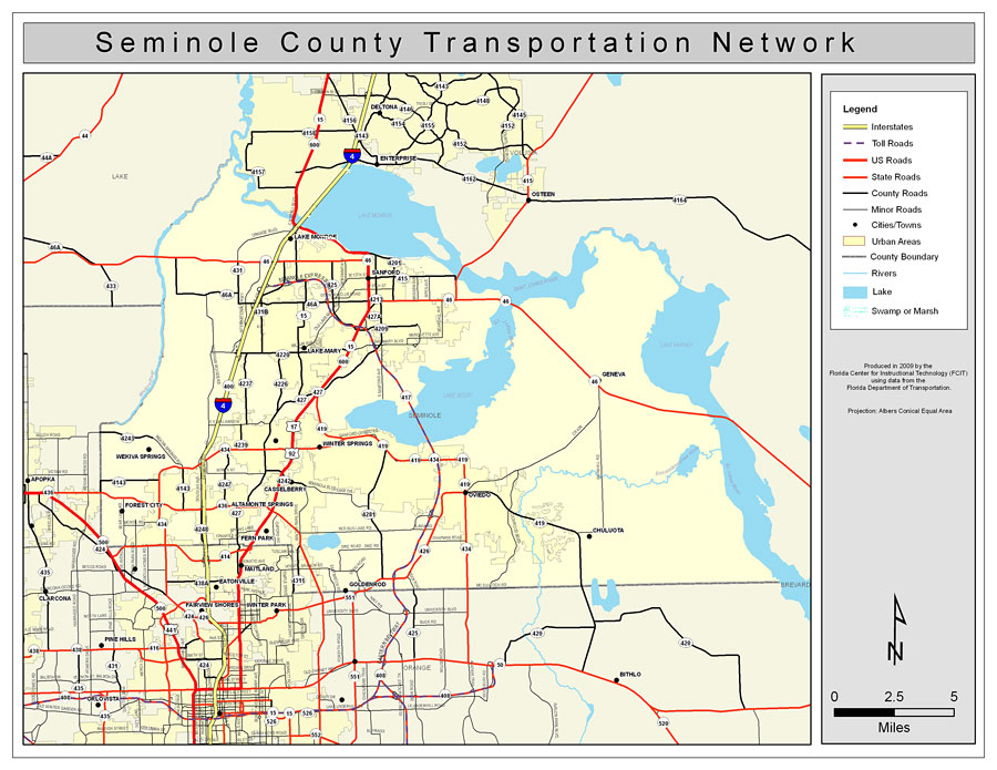 County Map Of Florida With Roads.Seminole County Road Network Color 2009