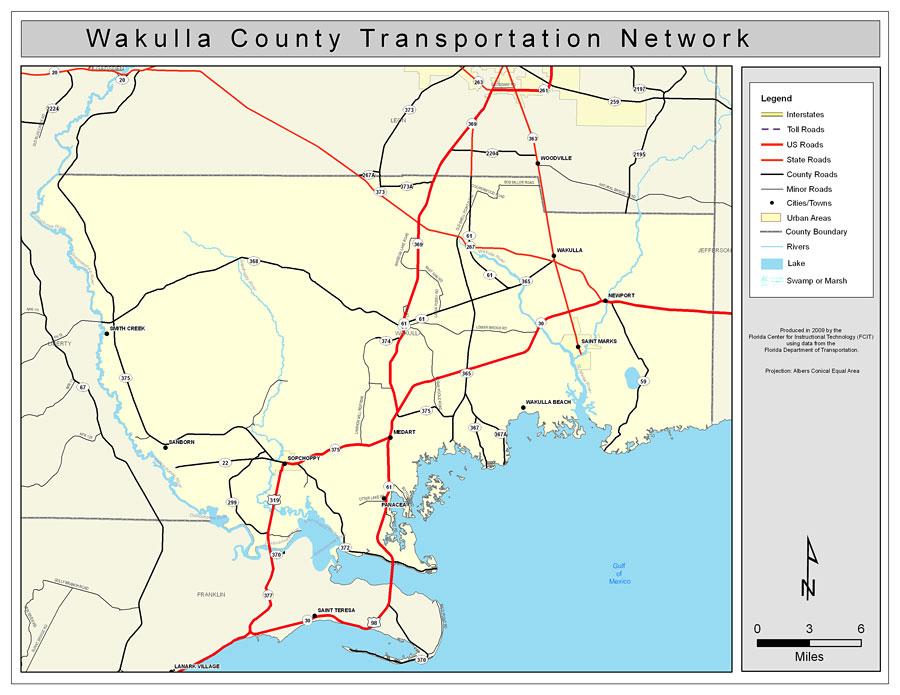 Map Of Wakulla County Florida.Wakulla County Road Network Color 2009