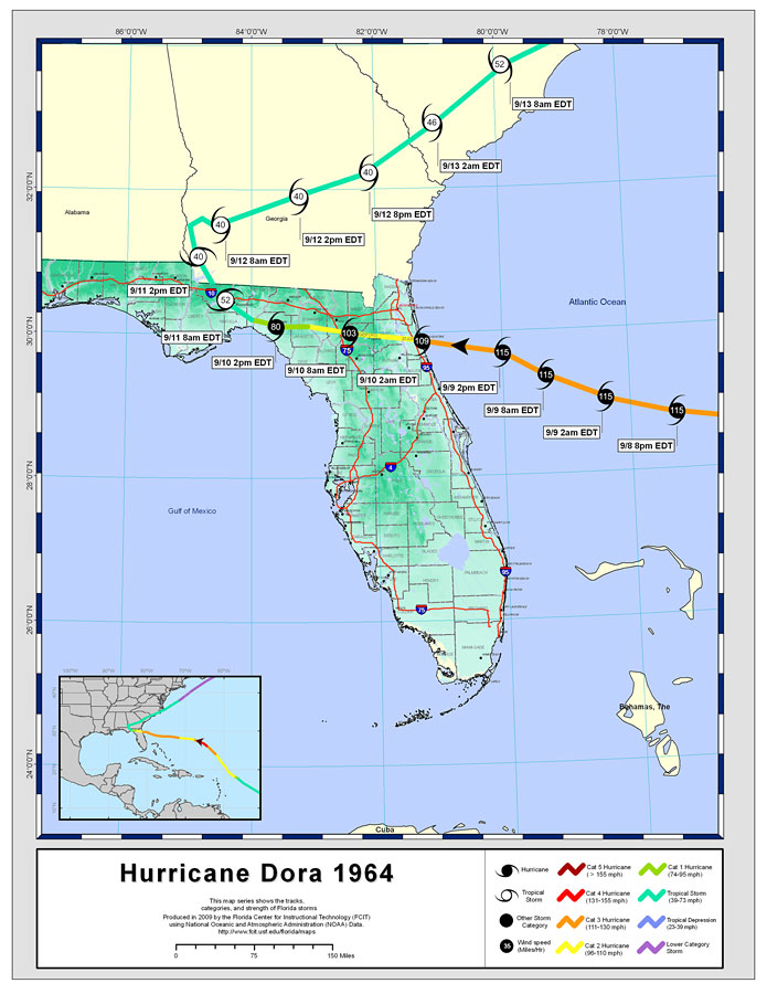 Storm Tracks by Name: Hurricane Dora, 1964 on youtube i'm the map, circle map thinking map, teletubbies map, dinosaur train map, adventure time map, treasure map, batman map, scroll map, veggietales map, lazytown map, warrior map, pokemon map, titanic map, blues clues map, jake and the neverland map,