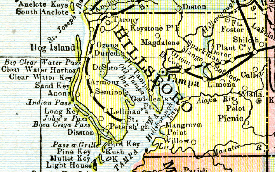 Hillsborough County Map Hillsborough County, 1900